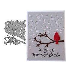 2019 New Arrival Snow Birds Branch Metal Cutting Dies 3D DIY Scrapbooking Carbon Sharp Craft Die Photo Invitation Cards Decorati