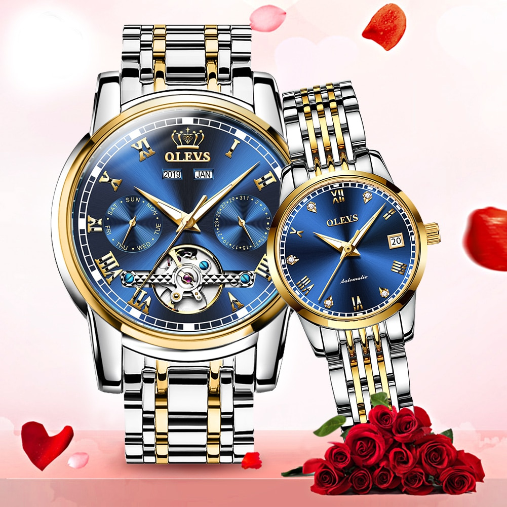 Couple automatic mechanical wristwatch waterproof casual style stainless steel watchband Fashion lovers watch