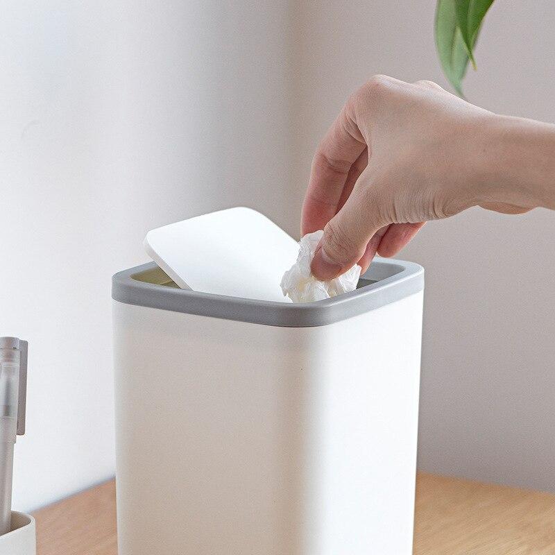 Mini cubo de basura de escritorio para el hogar, sala de estar, cocina, baño, oficina, cubo de basura con tapa, caja de basura para accesorios de tocador