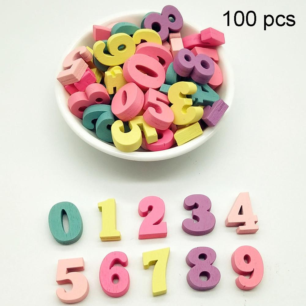 100 pçs 15mm diy números do alfabeto casa festa de natal decoração de madeira mista multi-cor palavra letras bloco artesanal artesanato presente