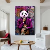 street graffiti art animal panda bear lion canvas painting wall art posters prints wall pictures for living room home cuadros