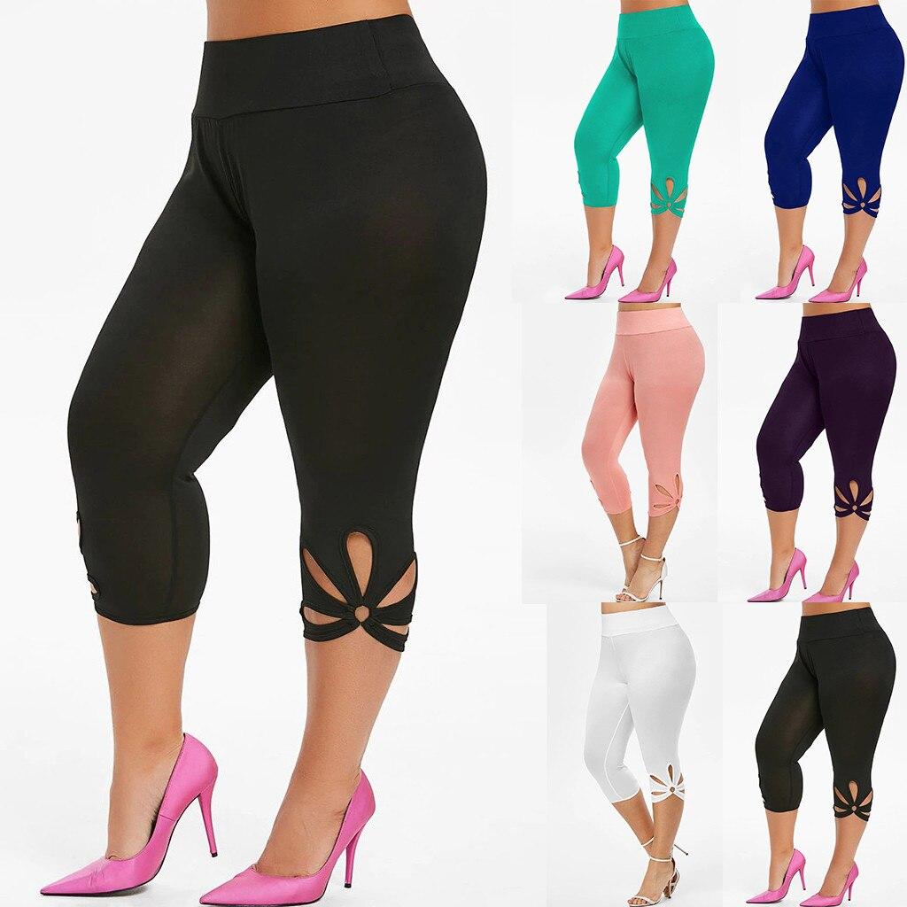 Mallas deportivas De talla grande para Mujer, Leggings lisos, elásticos, De cintura alta, informales