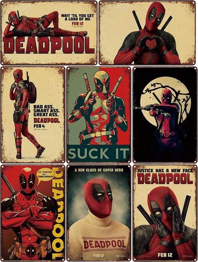 Dead pool Deadpool Spider-Man - Metal cartel de estaño Bar Café decoración del hogar Bar arte de la pared pintura de Metal