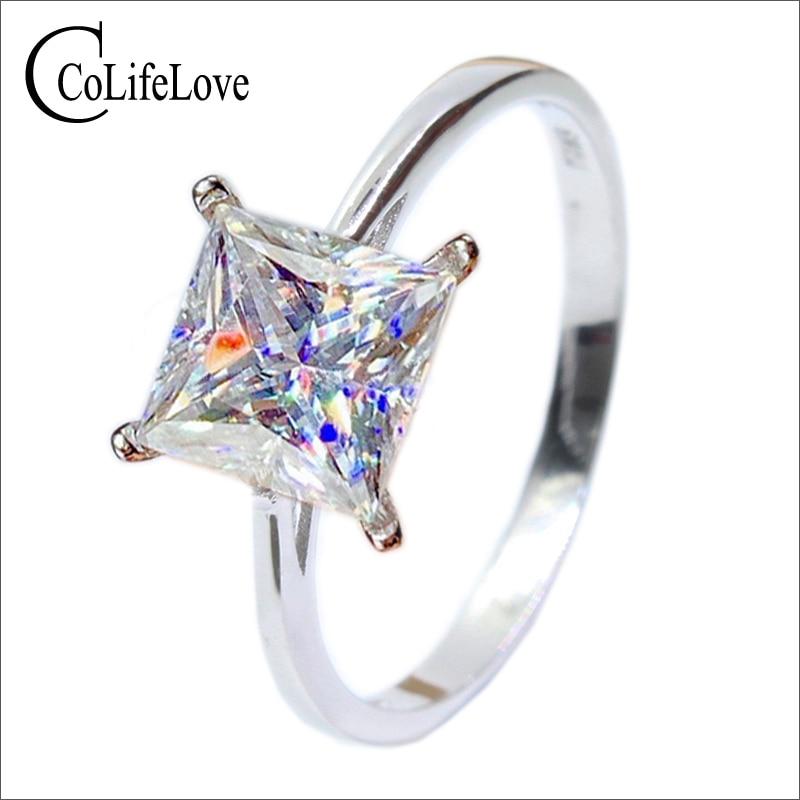 مجوهرات CoLife 1ct 2ct D اللون مويسانيتي خاتم الأميرة ساحة مويسانيتي خاتم الزفاف 925 الفضة مويسانيتي مجوهرات