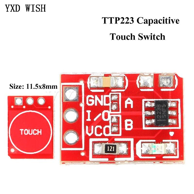 100 pièces TTP223 bouton tactile module autobloquant/sans verrouillage interrupteur capacitif monocanal modifie capteur tactile commutateurs carte