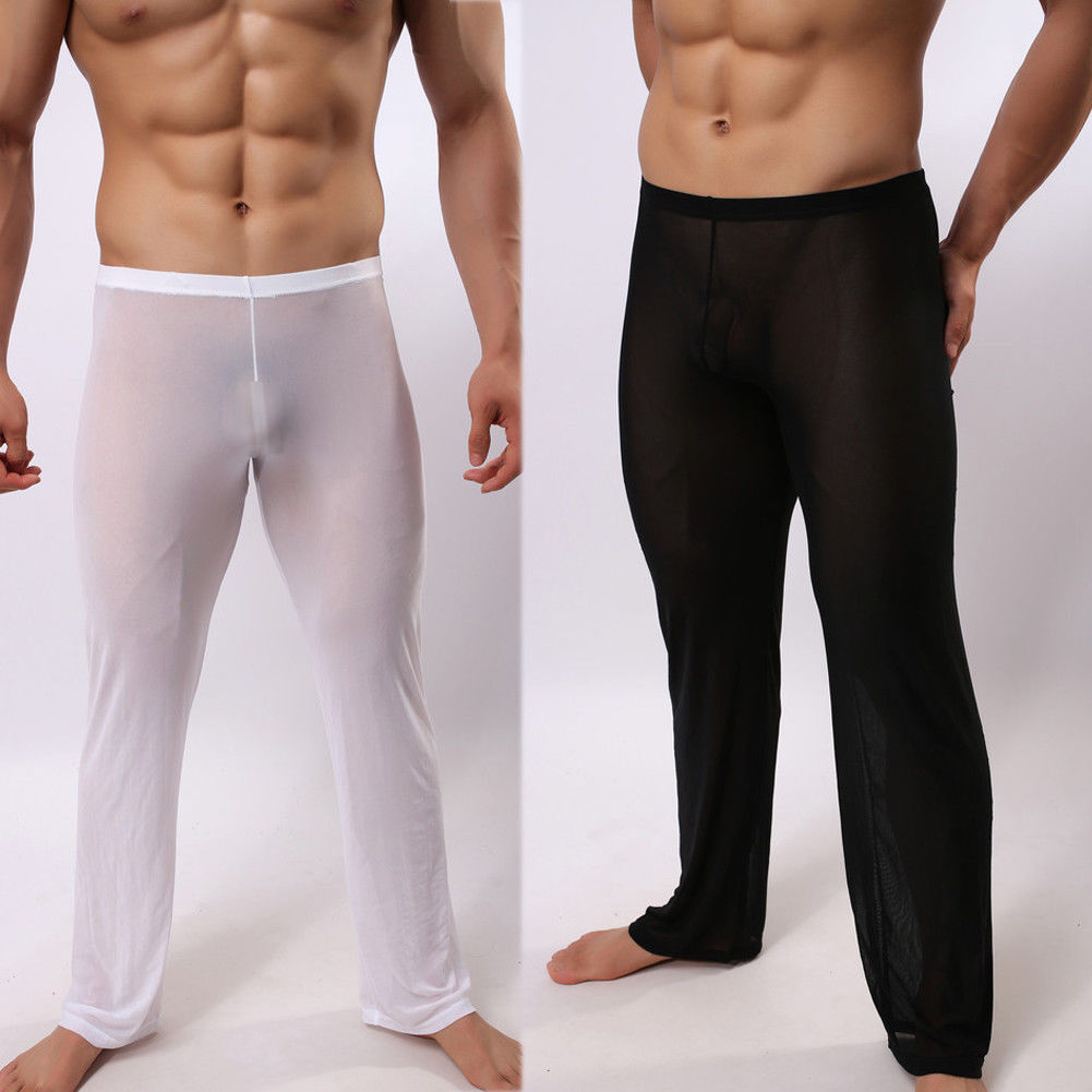 Plus size 2XL Mens Sexy See Through Polyamide Sexy Sleep Pants Soft Lounge Sleeping Pajamas