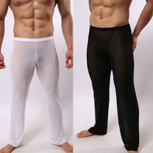 Plus size 2XL Mens Sexy See Through Polyamide Sexy Sleep Pants Soft Lounge Sleeping Pajamas