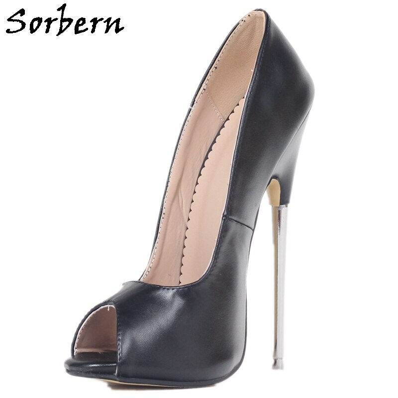 Sorbern Black Women Pumps Metal High Heels 18Cm Sexy Fetish Lady Boy Peep Toe Heeled Unisex Slip On