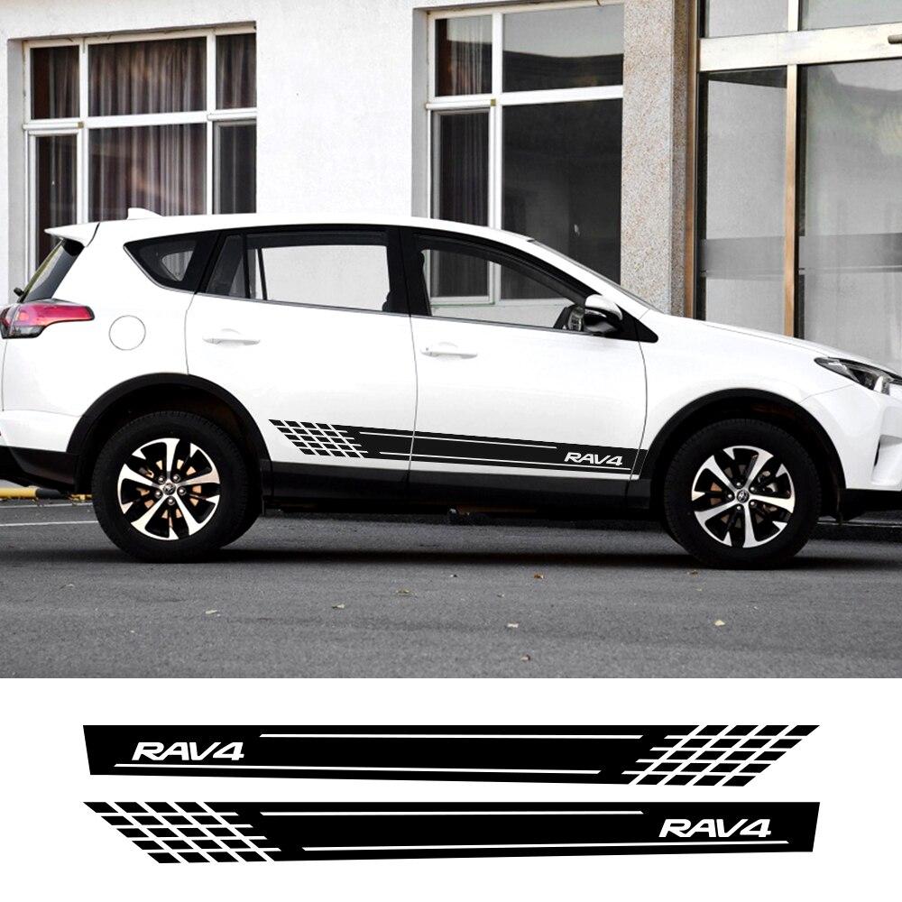 2 pçs para toyota rav4 carro longo saia lateral adesivos para decoração do carro diy filme de vinil auto esporte estilo decalques acessórios do carro
