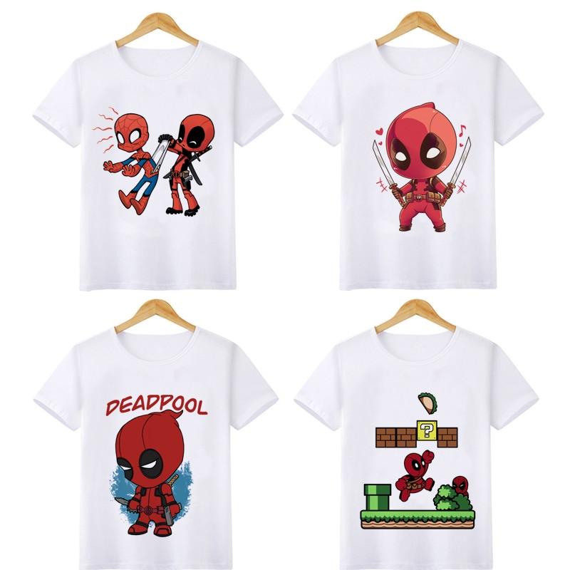 Children Deadpool Funny Cartoon T Shirt Boys O Neck Summer T-shirt Casual Graphic Fashion Tshirt Streetwear Top Tees for Kids