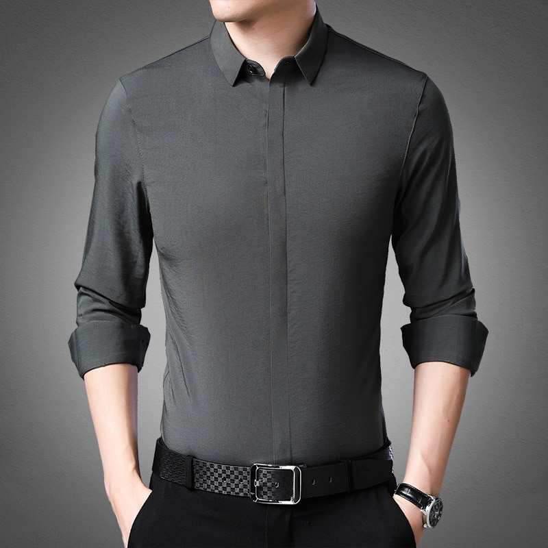 High Quality Fall 2019 New Style Mens Leisure Long-sleeved Shirt Fashion  Open-top Men Long Sleeve Shirts