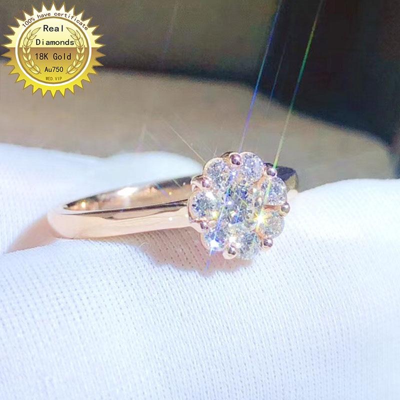 خاتم من الذهب عيار 18 قيراطًا مرصع بالألماس الطبيعي أو خاتم الخطوبة أو الزفاف مع شهادة