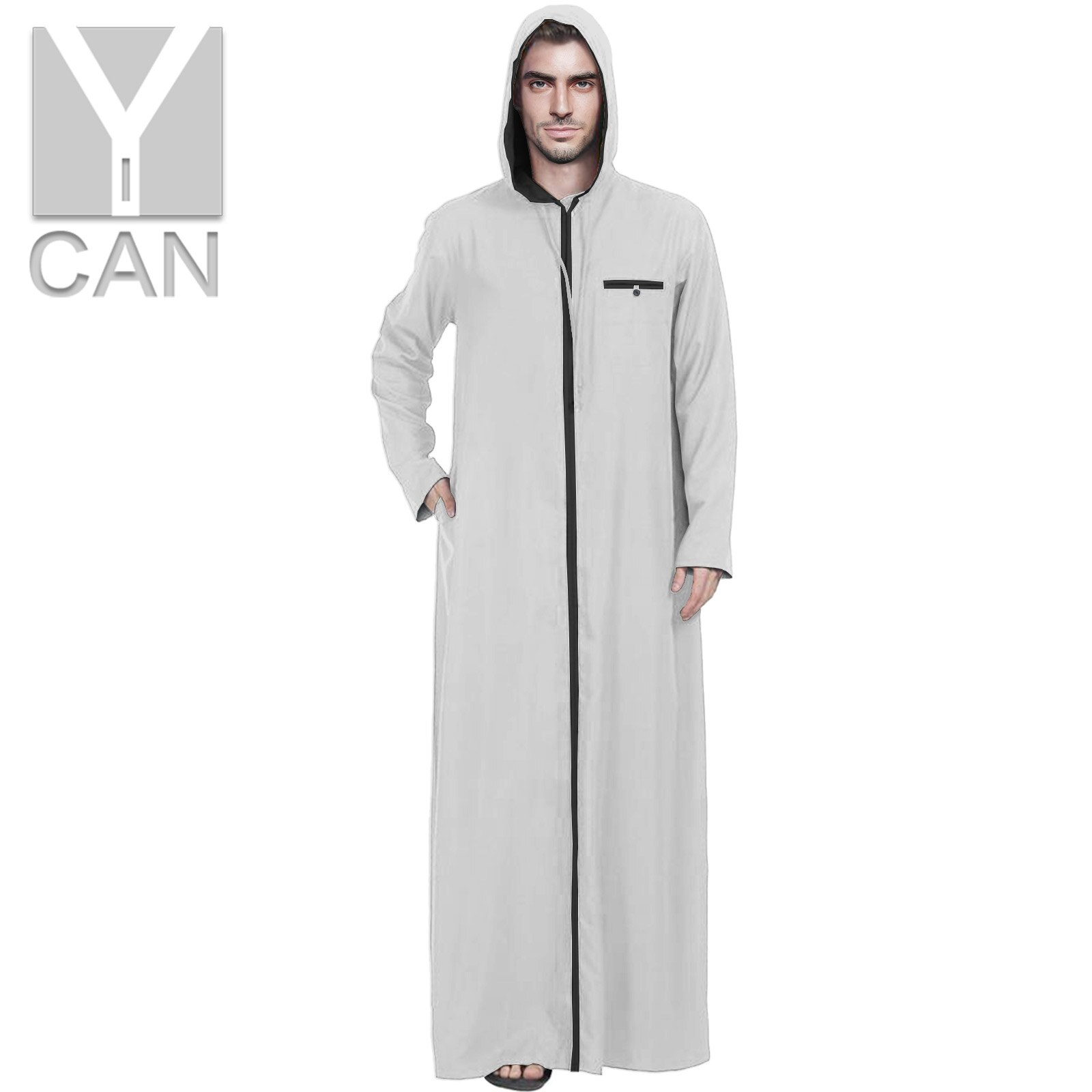 Y-CAN Islamic Pakistan Free Kaftan Muslim Fashion Clothing Long Sleeve Abaya Robes Hooded Saudi Arabia Dubai Jubba Thobe Y211001