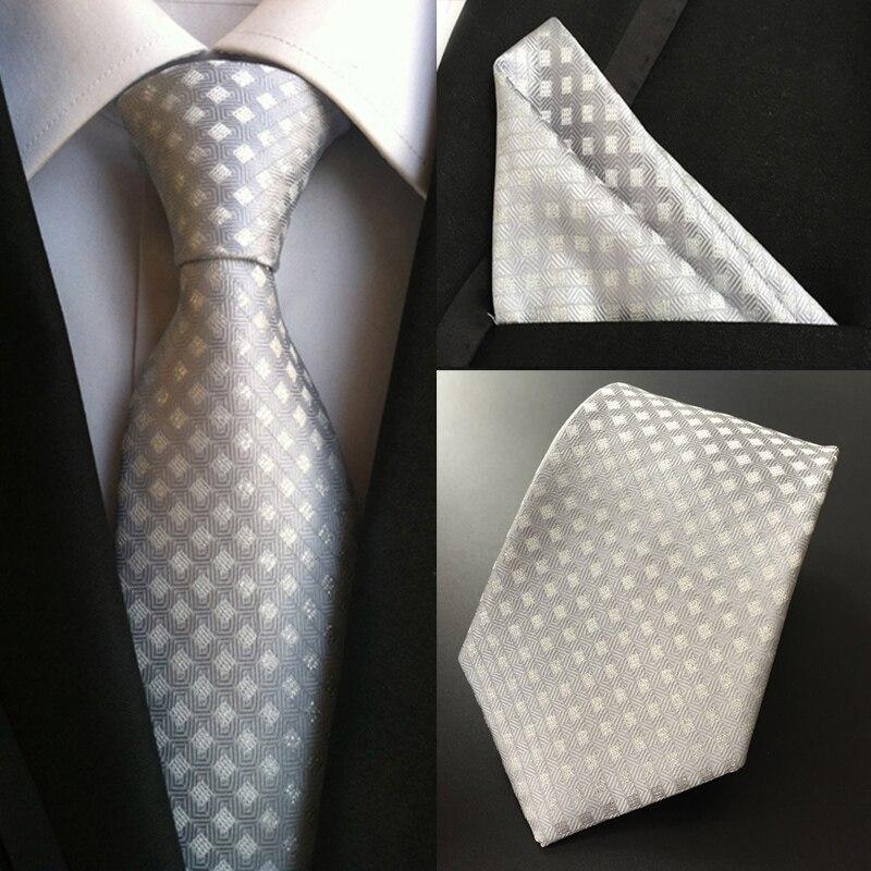 Pañuelo para hacer corbatas de seda de 100% para hombre de fiesta de boda de negocios clásico de fábrica, conjunto de corbatas de plata blanca con bolsillo a cuadros, pañuelo cuadrado