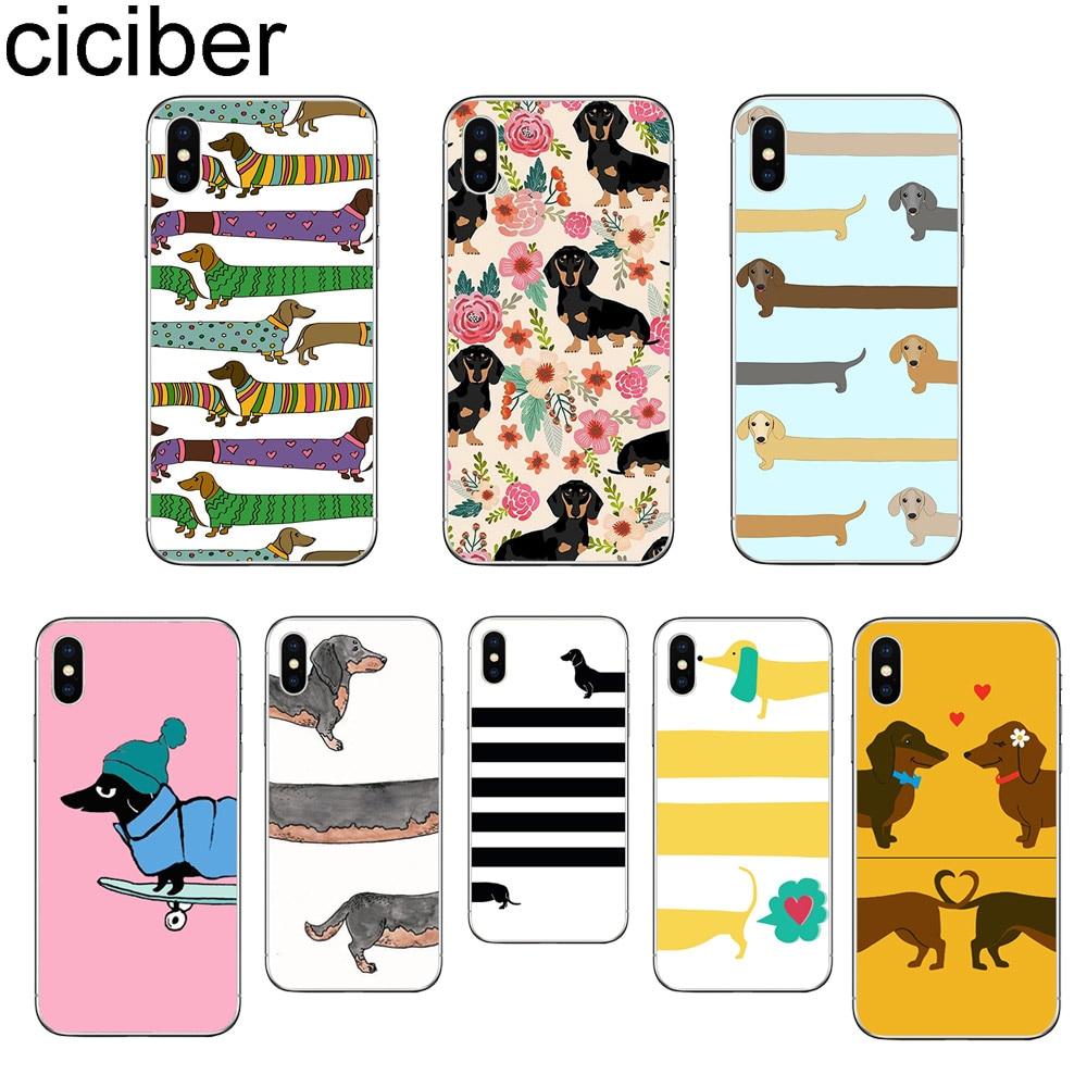 Ciciber lindo Dachshund perro para iPhone 11 Pro Max funda para teléfono para iPhone X XR XS Max 8 6 6S Plus 5 5S SE suave de la cubierta del TPU del Fundas