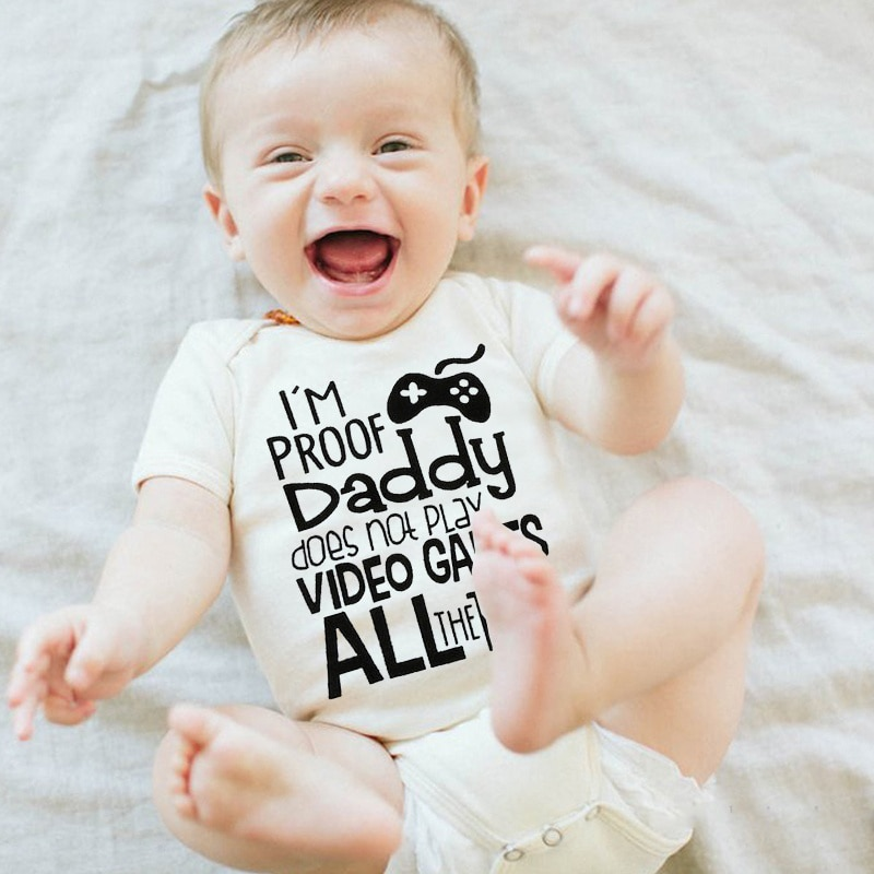 Newborn Baby Girls Boys Short Sleeve Letter Print I'm Proof Daddy Does't Play Video Games Jumpsuit B