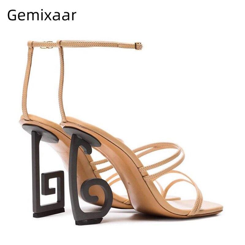 Couro genuíno faixa estreita sapatos de festa mulher novidade assimétrico estranho calcanhar tornozelo com tiras gladiador sandálias femininas