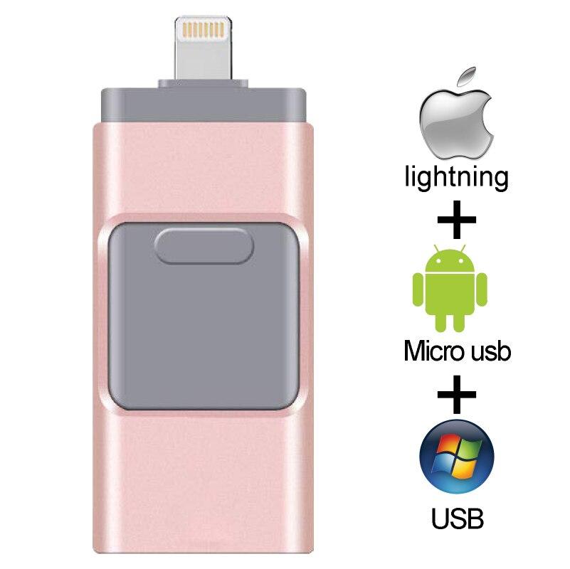 OTG unidad Flash USB para Apple iPhone iPad iPod móvil memoria Flash USB Flash Pen Drive 128G 64GB 32GB 16GB Usb Flash 3,0