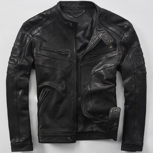 Male genuine leather sheepskin clothing short design real leather jackets spring and autumn fashion leather motorcycle coat