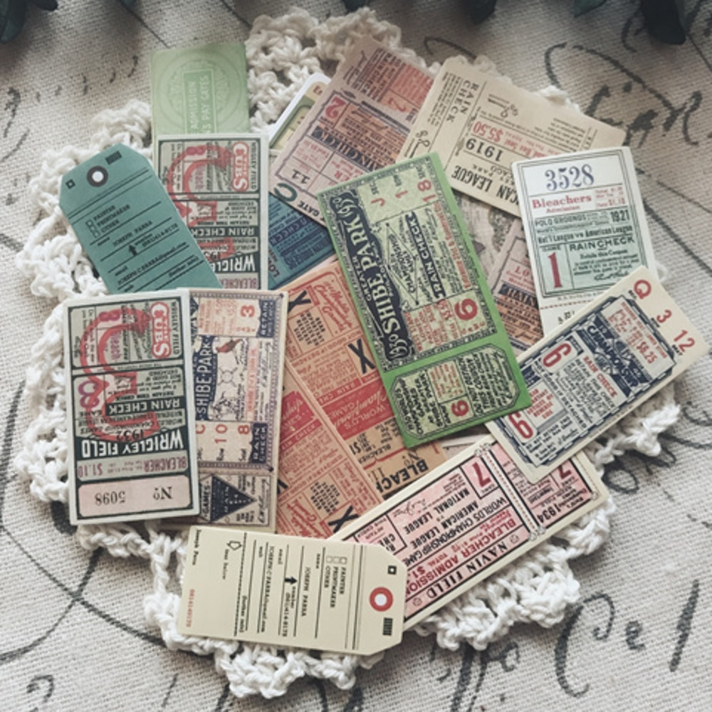 22 unids/pack Vintage europeo boleto etiqueta engomada DIY Scrapbooking álbum diario planificador pegatinas