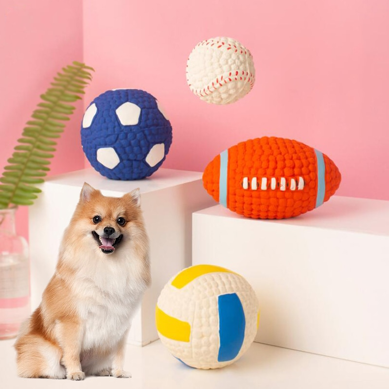 Latex Sound Dog Toys Molar Cleaning Teeth Durable Pet Ball Toys For Medium and Big Dogs Sports Ball Interactive Paly Pets Gifts
