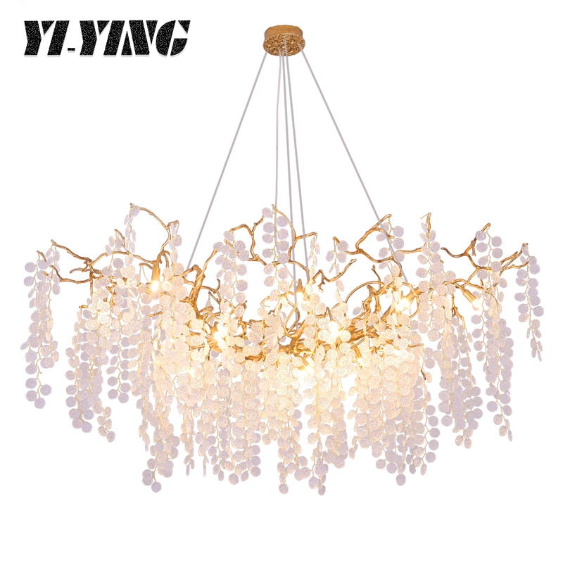 Yiying French light luxury living room American Creative Art bedroom modern branch lamp all copper dining room Crystal Chandelie
