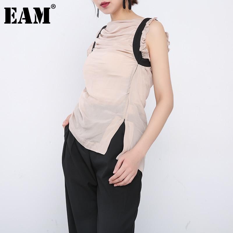 [EAM] ملابس نسائية كاكية ضيقة ومزينة بطيات ملابس علوية غير رسمية جديدة بياقة على شكل حرف V بدون أكمام ومميزة بموضة المد لربيع وصيف 2021 1DD772904