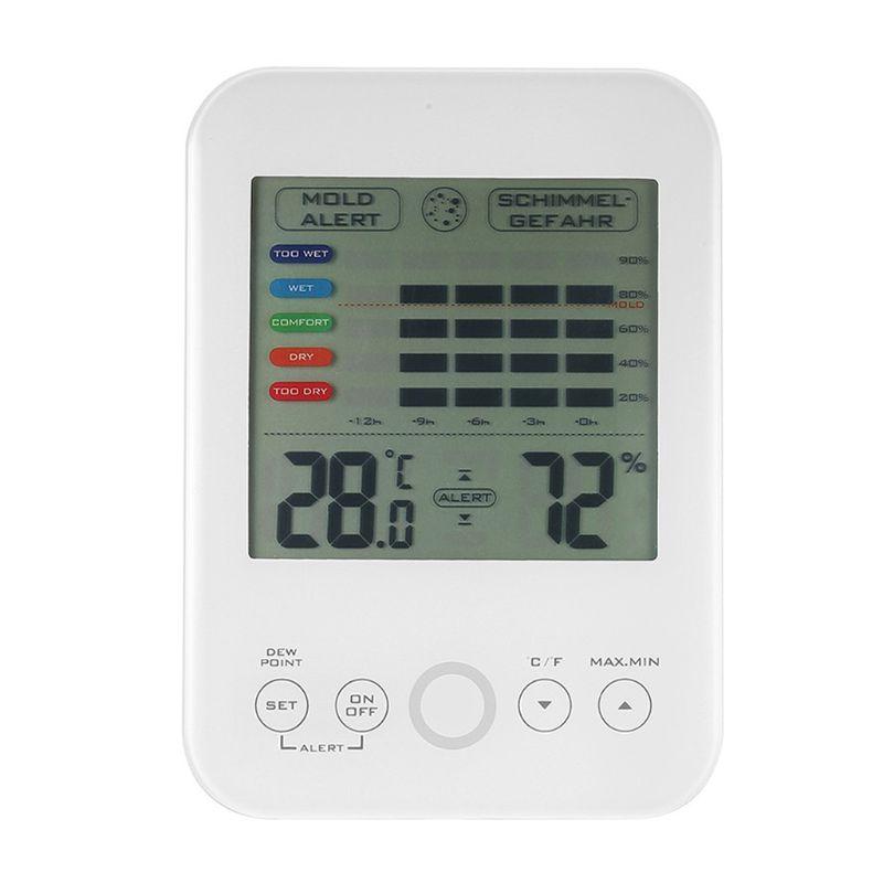 Higrómetro Digital termómetro molde alarma LCD pantalla táctil termómetro interior higrómetro estación meteorológica mojado seco Monitor