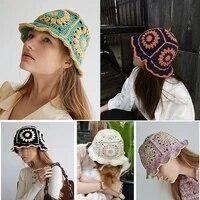 flower hollow handmade crocheted fisherman hat women summer breathable bowl hat retro knitted hat bucket hat