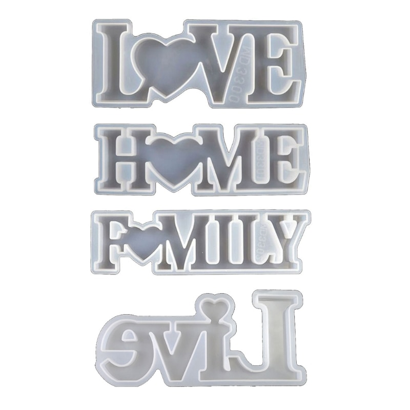 4 Pack Alphabet Mold Silicone Resin Love Home Family Live Sign Epoxy Resin Mold
