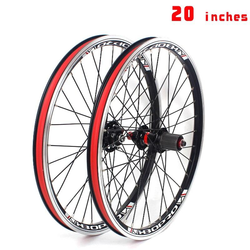 Juego de ruedas de bicicleta plegable de 20 pulgadas 406, freno de disco 451, ruedas de aleación de aluminio, freno en V, 2 rodamientos, 7-10 velocidades, 32H, ruedas de bicicleta