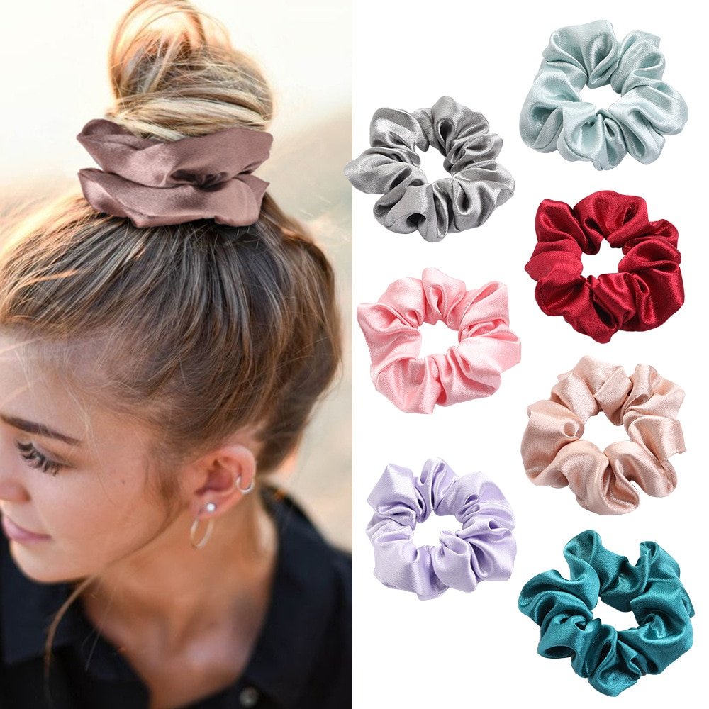 4PCS/Lot Satin Silk Scrunchies Women Elastic Rubber Hair Bands Girls Solid Ponytail Holder Hair Ties Rope Hair Accessories Set