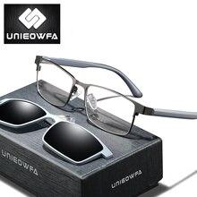 Unieowfa 2 em 1 ímã clipe no quadro de óculos homem polarizado óculos de sol óptica miopia grau prescrição quadro tr90
