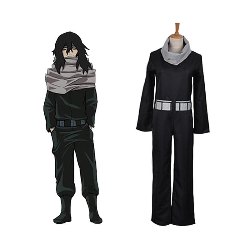 Anime My Boku No Hero Academia Aizawa Shouta Halloween Cosplay ropa de hombres de dibujos animados conjunto de uniforme de fiesta negro