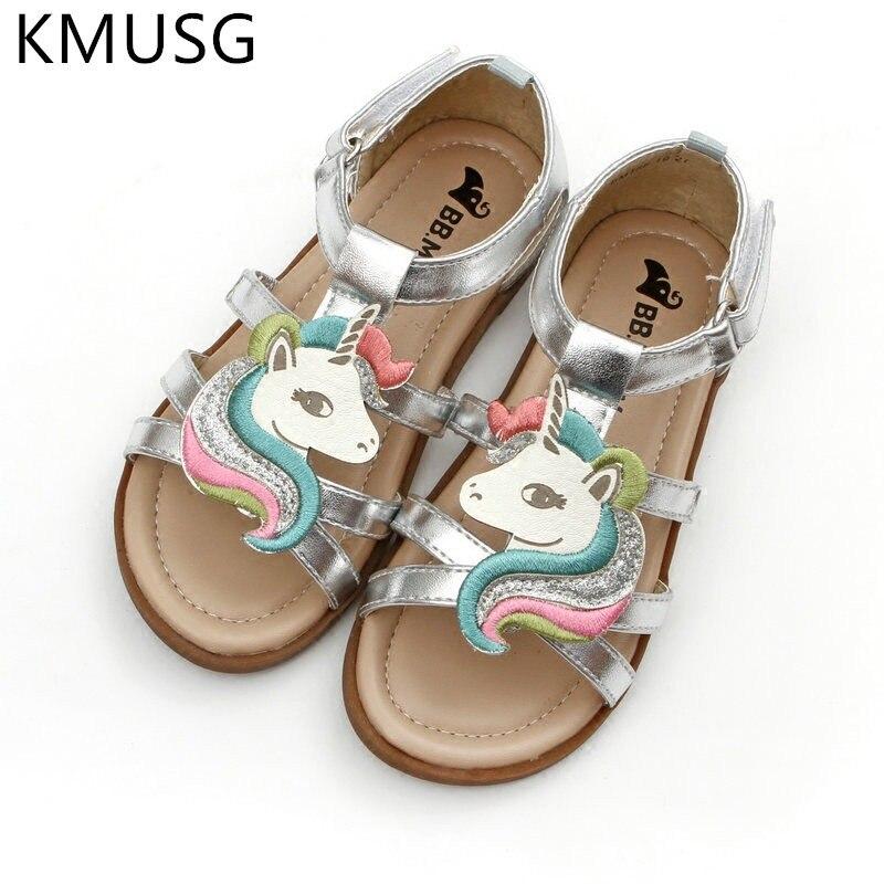 Sandalias de unicornio para niñas, verano 2020, zapatos abiertos de gelatina para la playa, sandalias de gladiador para niños, zapatillas de unicornio, niño pequeño 05