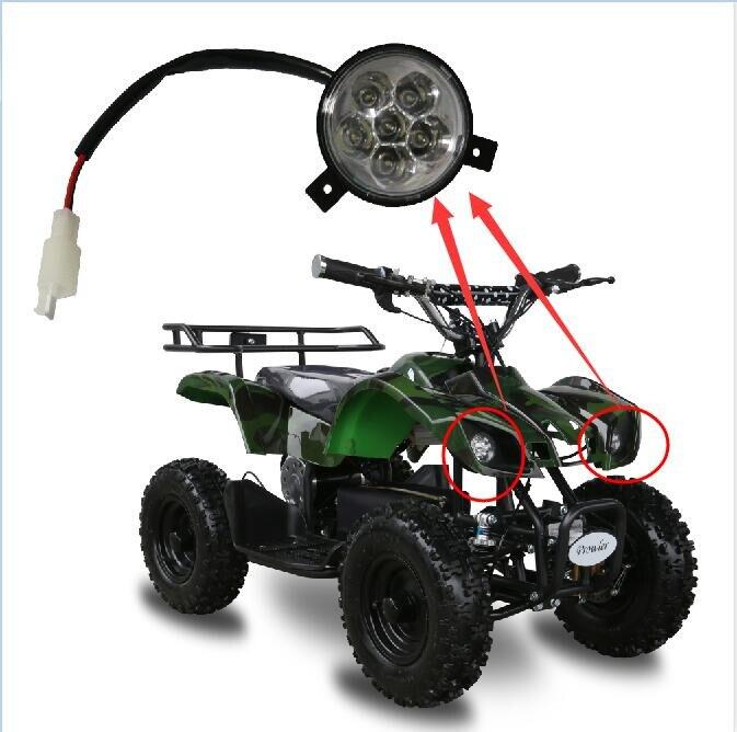 Faro delantero de 24V- 48V, 1,5 W, 49cc, 50cc, 70CC, 90CC, 110cc para Mini Scooters eléctricos ATV, Mini ATV para niños, Taotao 110L