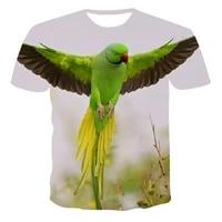 summer fashion new 3d printing t shirt talking animal parrot element clothing wholesale customization