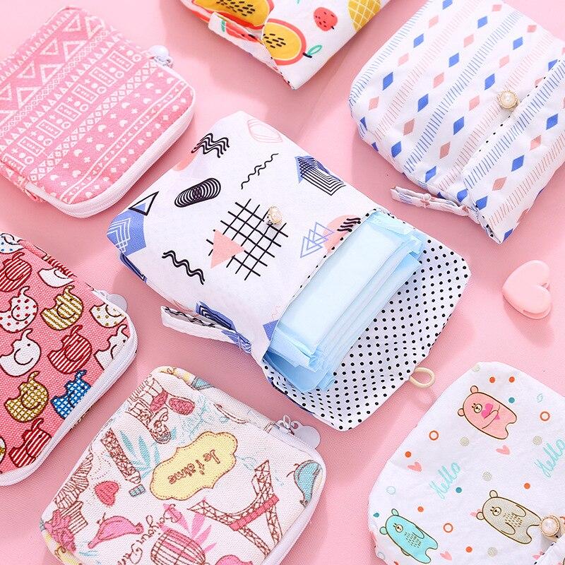 Pañal para niñas con 10 estilos, bolsa de almacenaje de pañuelos sanitarios, bolsas de lona para compresas sanitarias, monedero, organizador de joyas, tarjeta de crédito Pou