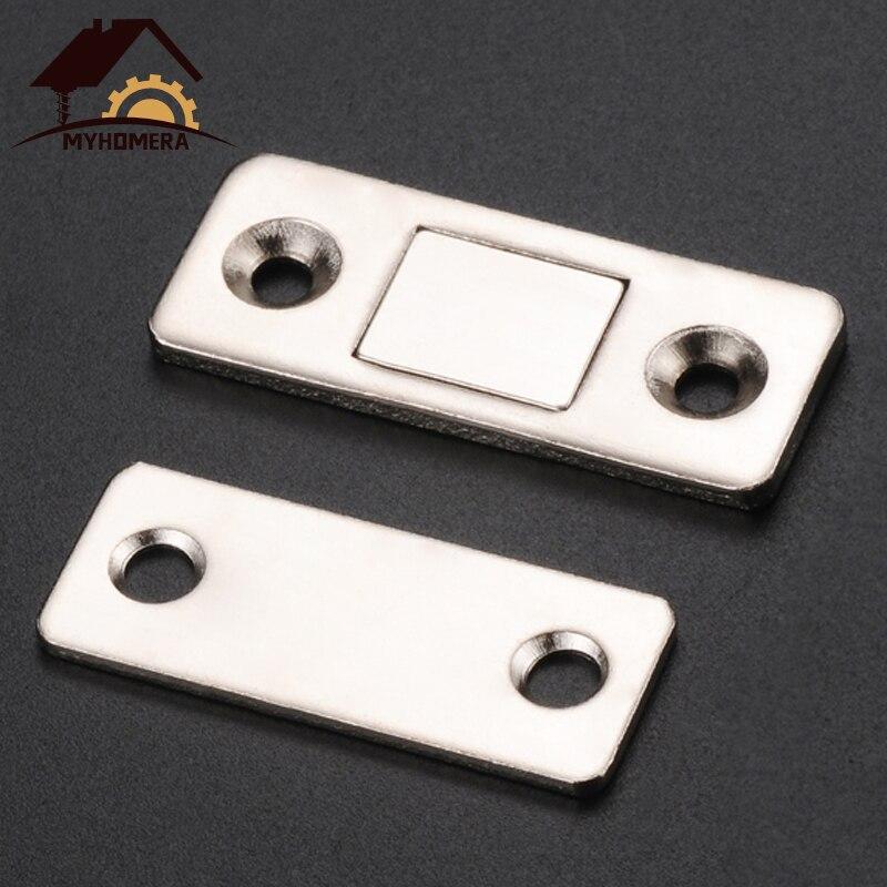 Myhomera 2 unids/set fuerte puerta magnético pestillo para puerta imán para gabinete de muebles armario con tornillos Ultra delgada