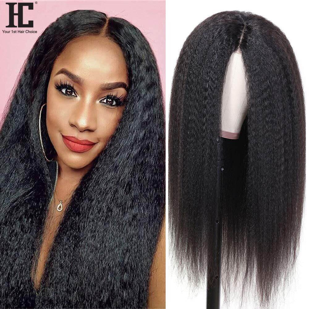 Lace Wig Brazilian Kinky Straight Lace Part Wig 180% Pre Plucked Natural Hairline 13x1 Human Hair Lace Wigs Remy 8-28 Inch