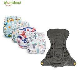 [Mumsbest]5 Pçs/set Bambu Quick-secagem Reutilizável Duplo Gussets Fraldas Fraldas Para Bebés Recém-nascidos Fraldas De Pano Recém-nascidos Suit3-6kg Ajustável