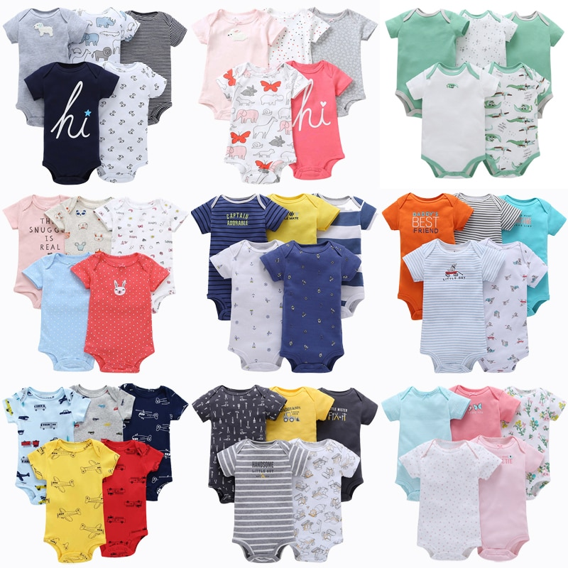 5pcs Baby Rompers 100% Cotton Lnfant Body Short Sleeve Clothing Baby Bodysuit Jumpsuit Cartoon Printed Baby Boy Girl Clothes