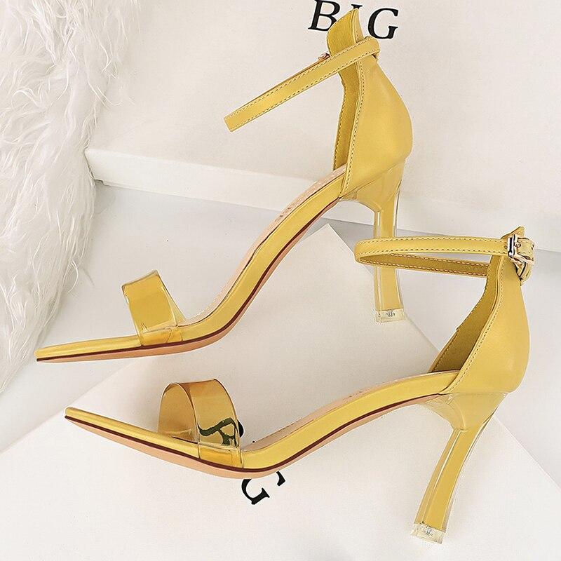 Sandalias de tacón alto para mujer, zapatos femeninos de tacón alto de 2021 cm con tiras de cristal, Stilettos sexys para boda, nupciales, elegantes, amarillos, 8,5