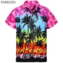 Palm Tree Printed Mens Hawaiian Shirts Short Sleeve Casual Summer Men Tropical Aloha Shirts Party Beach Wear Clothing Chemise 3X