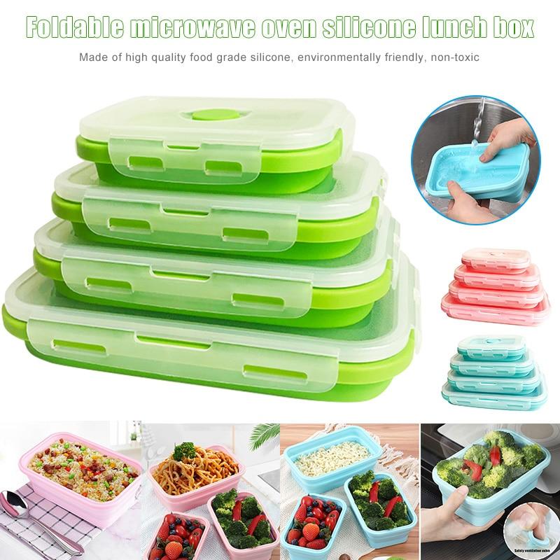 4 pçs/set Silicone Lunch Box Portátil Tigela Dobrável Colorido Recipiente de Alimento Lancheira Acampamento Almoço Caixas de Silicone Ecológico