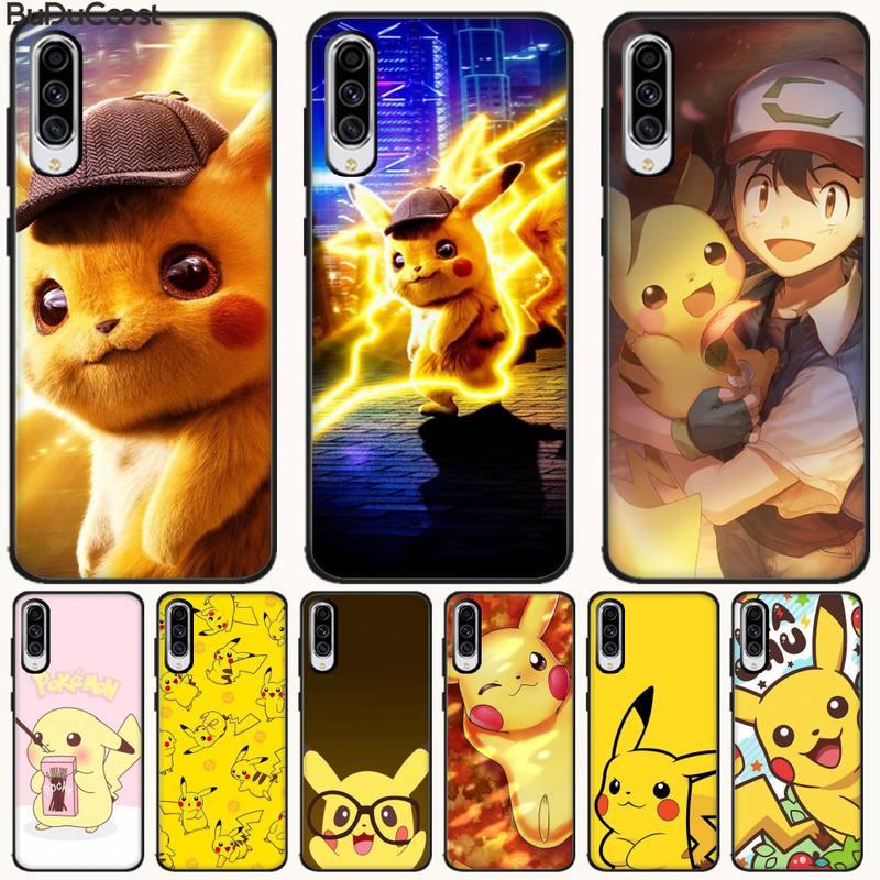 Detective Kawaii Pikachu Black TPU Soft Phone Case Cover For Samsung A10 20 30 40 50 70 10S 20S 2 Core C8 A30S A50S A7 8 9