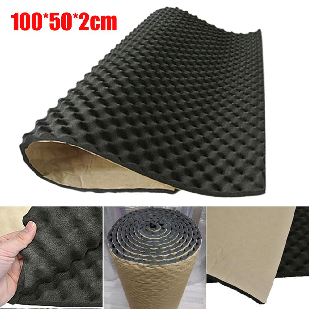 2cm Car Sound Hot Deadener Mat Noise Proof Bonnet Insulation Deadening Engine Firewall Heat Foam Cotton Sticker 100cm/50x50cm