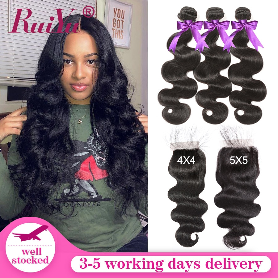 RUIYU Body Wave Bundles With Closure 5x5 Lace Closure With Bundles Brazilian Hair Weave Bundles Remy Human Hair Bundles