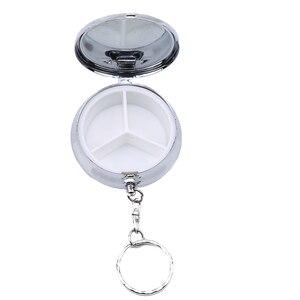 Серебряный компактный круглый металлический держатель для таблеток, органайзер, 3 отсека, портативный органайзер для таблеток, контейнер