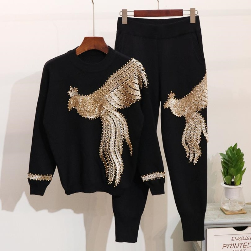 African Sets For Women 2020 Long Sleeve Beading Sequined African Elastic Bazin Baggy Pants Rock Style Dashiki Famous Suit Lady